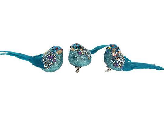 Turquoise Glitter & Multi Beads Bird Clip 7cm