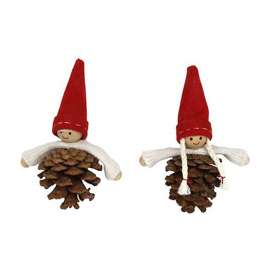 Hanging Red Felt Hat Scandi Kids with Pinecone Body