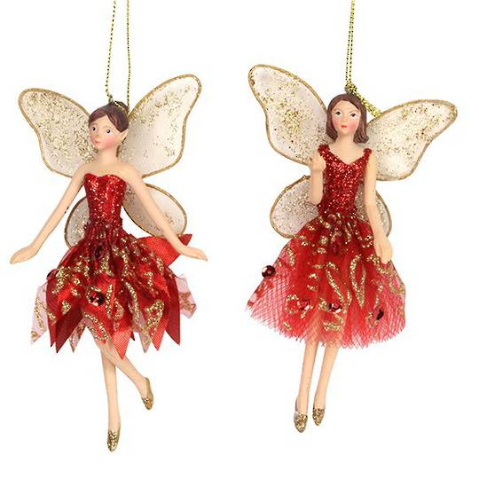 Resin Fairy with Red/Gold Fabric Dress 14cm