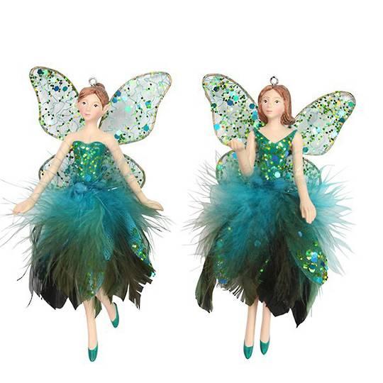 Resin, Fabric & Feather Peacock Fairy 14cm