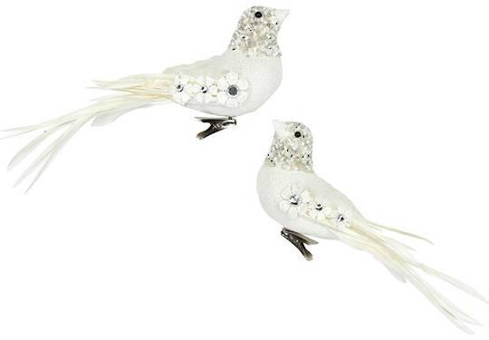 Clip, Cream and White Flowers on Bird 10cm