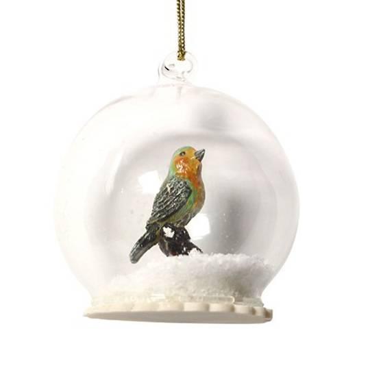 Glass Ball Clear, Robin Inside 8cm