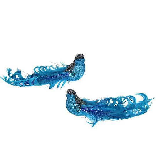 Clip, Blue Glitter & Curly Feather Bird