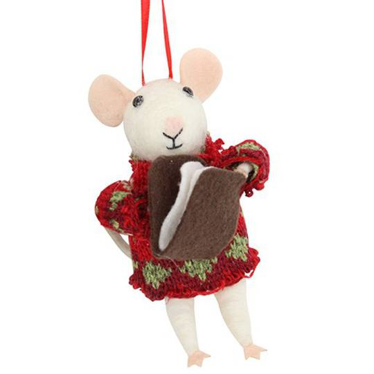 Eco Wool White Mouse in Xmas Sweater with Book