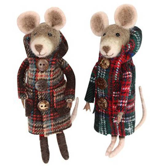 Wool Mouse in Plaid Coat 15cm