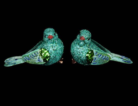 Turquoise Glitter & Feather Bird Clip