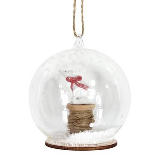 Glass Ball Clear, Bear on Reel Inside 8cm