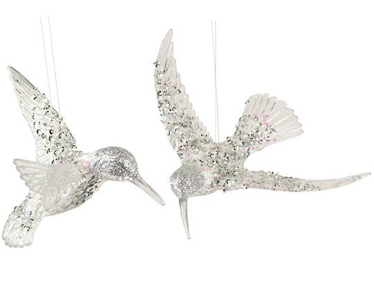 Acrylic Clear with Silver Sequins HummingBird