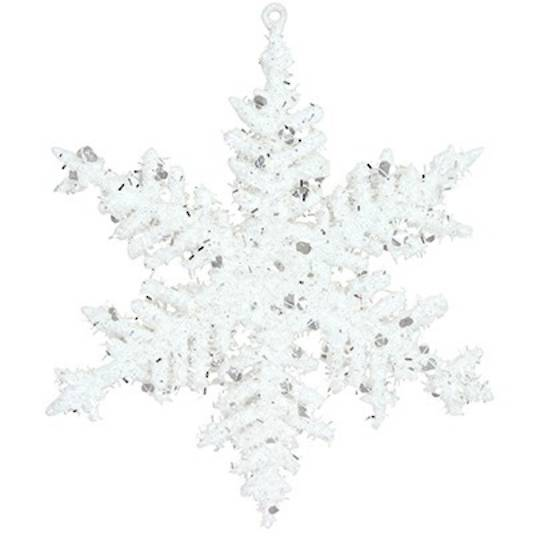 Hanging Clear Frosted Acrylic Snowflake 17cm
