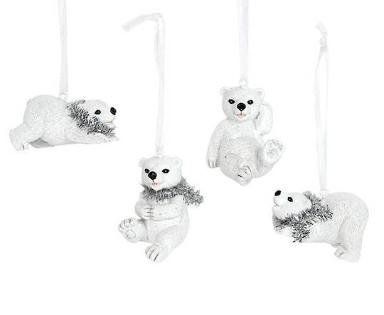 Resin Polar Bear Cub with Tinsel Scarf 5cm