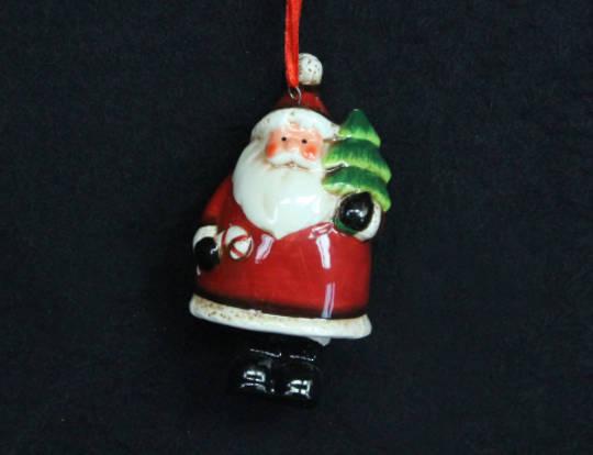 Hanging Ceramic Santa with Tree