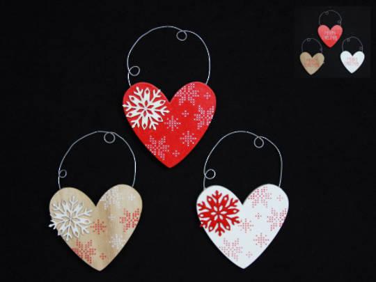 Hanging Wooden Scandi Snowflake Heart