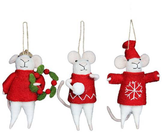 Wool Red and White Mice 12cm