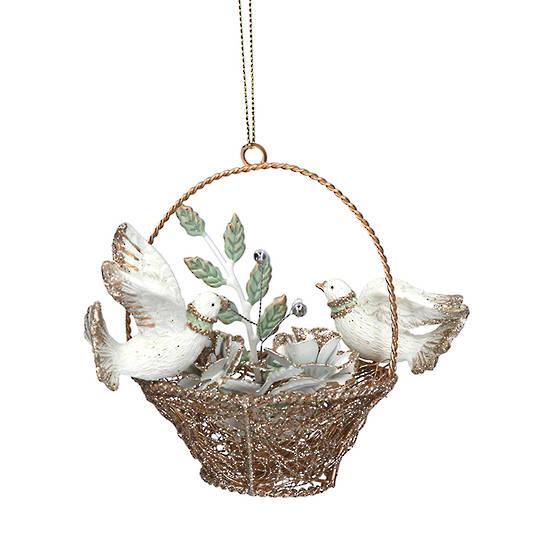 Resin Doves in Gold Wire Basket 7cm