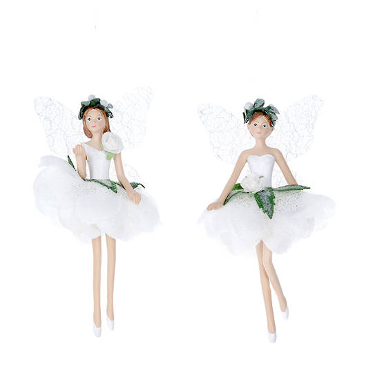 Resin White Fabric Flower Fairy 14cm SOLD OUT