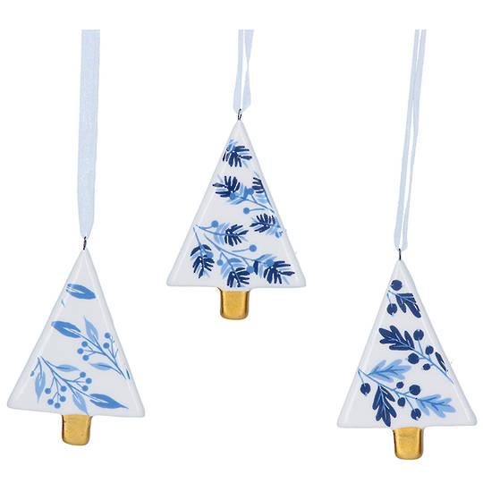 Ceramic White Blue Gold Tree 7cm