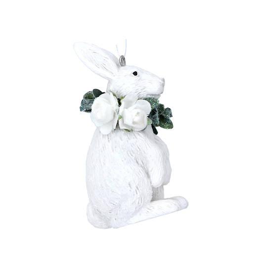 Hanging Resin White Flower Rabbit 7cm