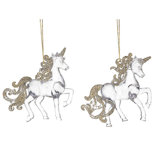 Clear Gold Acrylic Unicorn 11cm