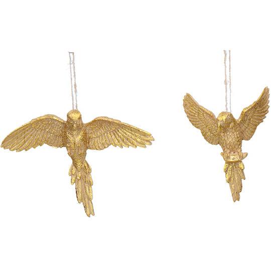 Resin Gold Flying Parrot 14cm