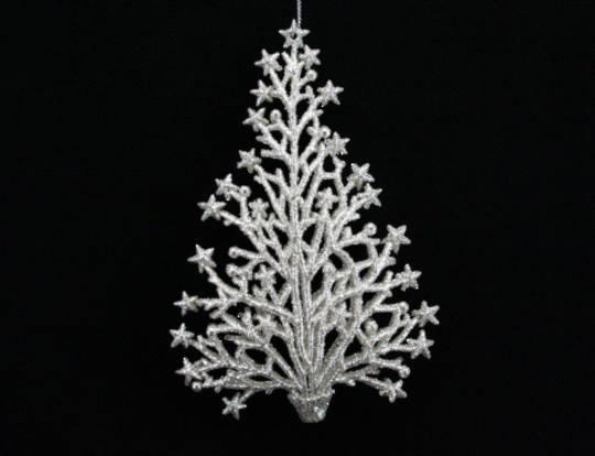 Silver Glitter Twig/Star Tree 12cm