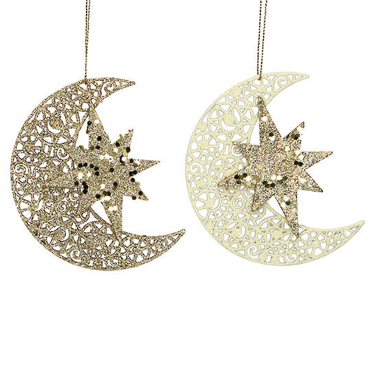 Wood Celestial Star on Moon 11cm