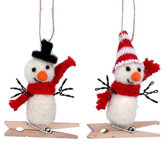 Wool Snowman Peg 8cm
