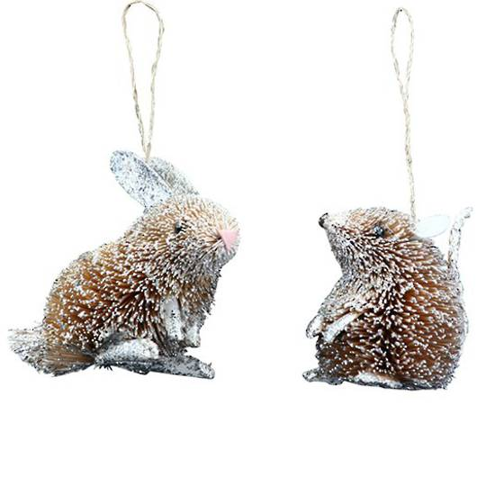 Bristle Snowy Glitter Bunny or Mouse 7cm