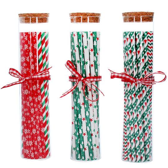 Christmas Paper Straws in Glass Jar 22cm