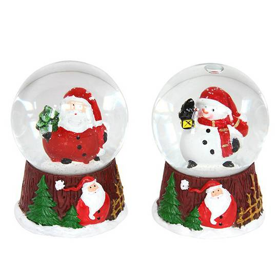Snow Globe Mini, Santa or Snowman, Brown Base