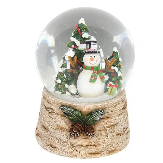 Musical Snow Globe, Snowman with Tree, Log Base
