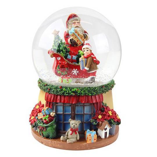 Musical SnowGlobe. Santa, Sleigh & Child, Window Sill Base 14cm