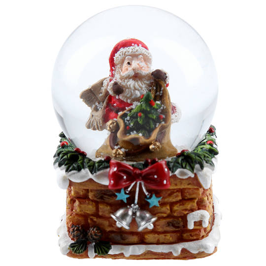 Mini Snow Globe, Santa in Chimney