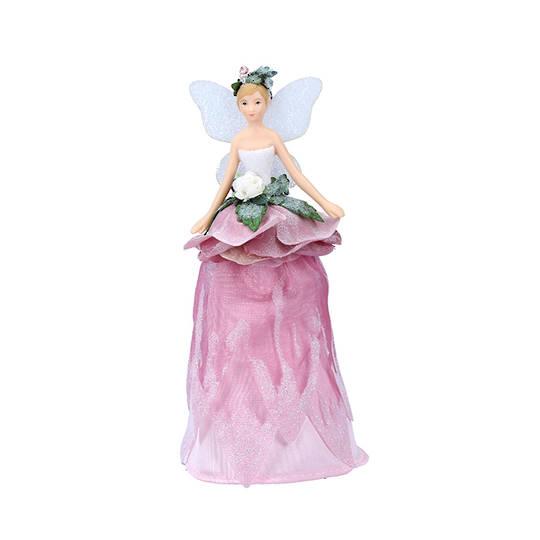 Mini Resin Fabric Flower Fairy Tree Topper 18cm