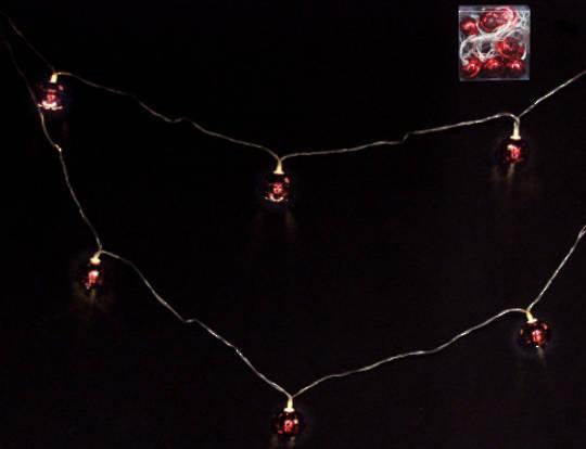 Red Metal Jingle Bells 10 LED Lights 1.8 mtr