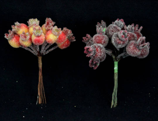 Frosted Rosehip Pick Orange/Red 10cm