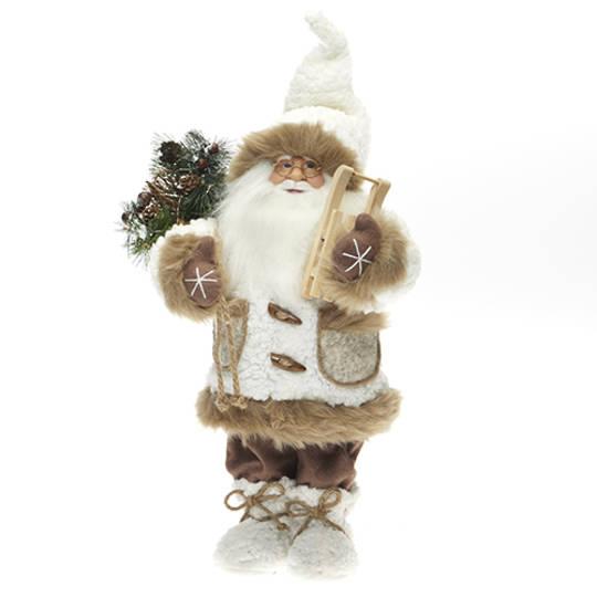 Santa Cream Coat 62cm with Caramel Fur Trim LED Lights 3x AA Batt.