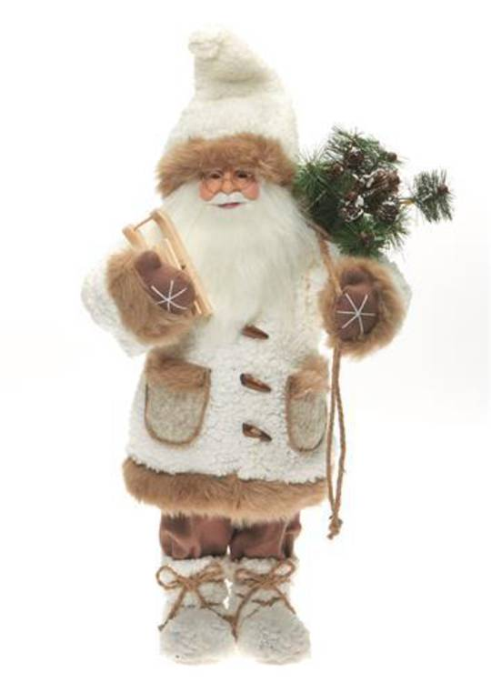 Santa Cream Coat 46cm with Caramel Fur Trim LED Lights 3x AA Batt.