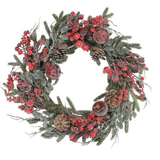 Fur Tree Wreath, Frosted Red Berry & Fruit