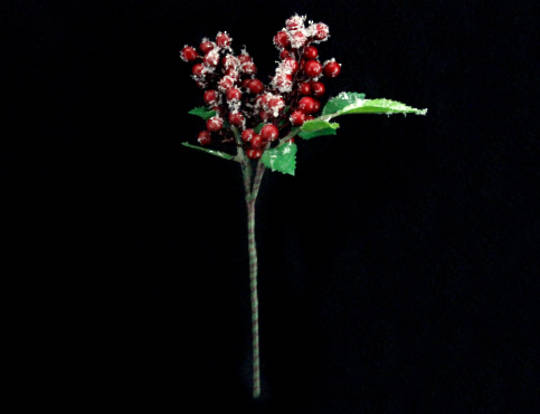 Snowy Red Berry and Leaf Pick 12cm