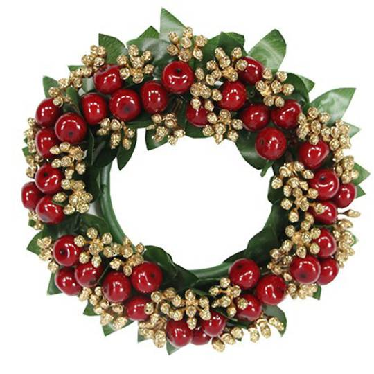 Candle Ring Red/Gold Glitter Berry 15cm