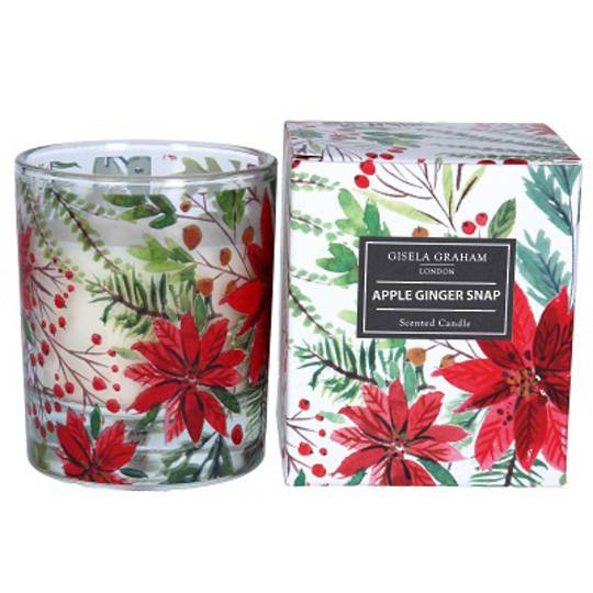 Poinsettia Pattern Candle in Jar, Large. 10cm