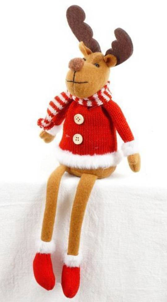 Plush Sitting Jolly Reindeer, Red Jumper