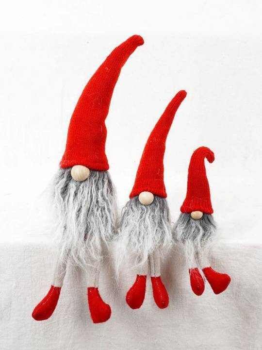 Sitting Skinny Santa with Grey Beard