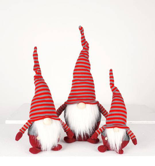 Plush Santa Red and Grey Stripe Hat