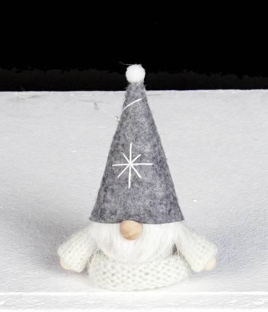 Hanging White Knit Jumper, Grey Hat Santa