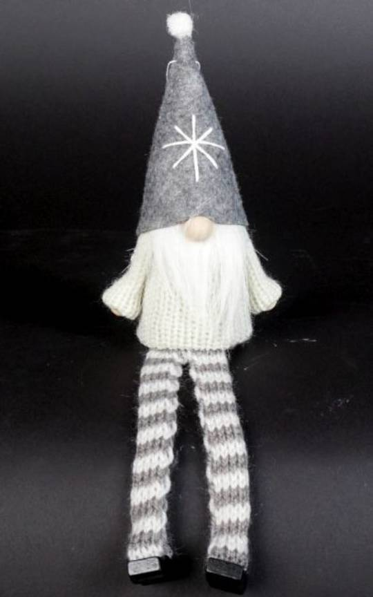 Sitting Santa White Knit Jumper, Grey Hat