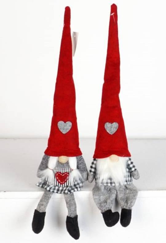 Plush Sitting Gnome Black & White Check 30cm