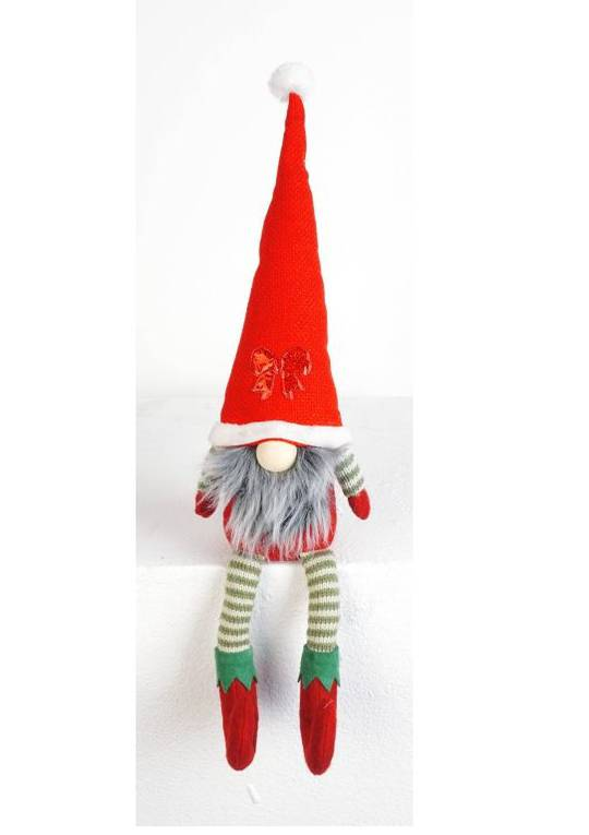 Sitting Elf Santa, Long Legs Red Hat