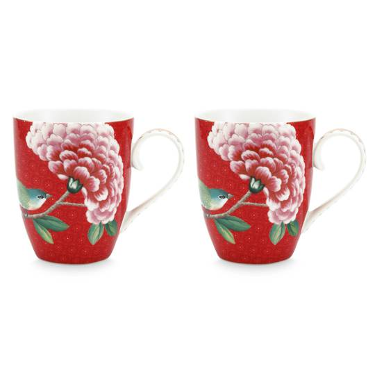 Blushing Birds Mug 340ml, Pair