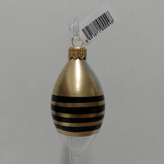 Glass Olive Clear with Black & Gold Stripes 8cm